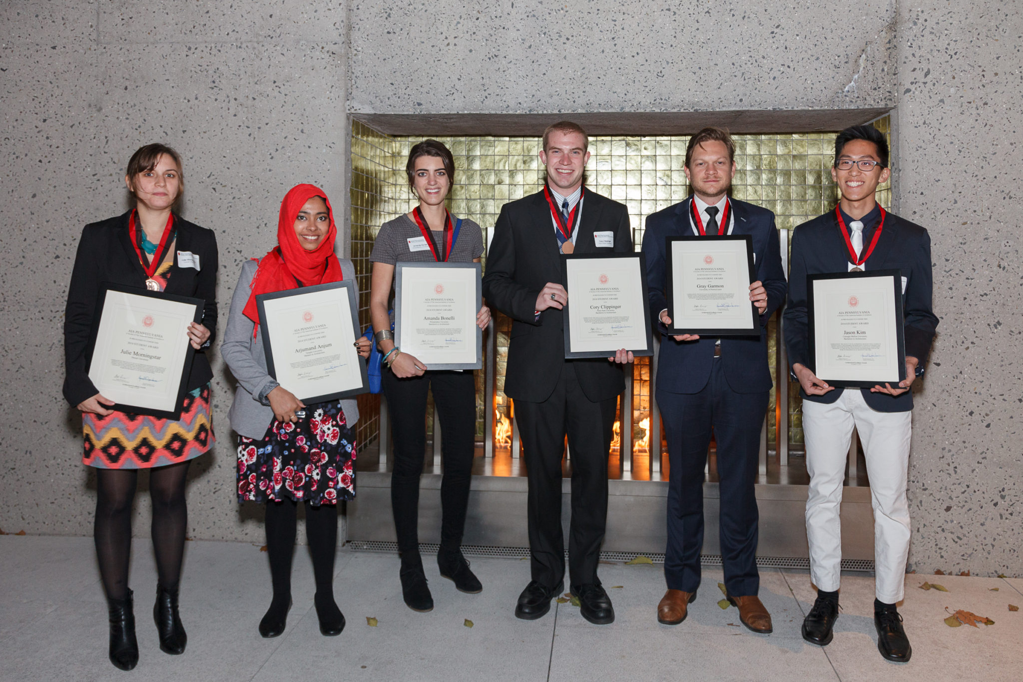 2014 AIA ​Student Award Winners​ (​L to R​)​: Julie Morningstar, Drexel University​, ​Arjumand Anjum, Temple University​, ​Amanda Bonelli, Philadelphia University​, ​Cory Clippinger, Penn State University​, ​Gray Garmon, University of Pennsylvania​, ​Jason Kim, Carnegie Mellon University​