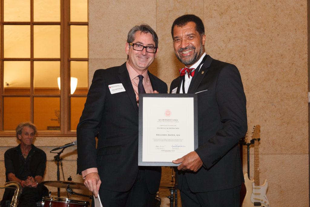 Chip Desmone, AIA Pennsylvania Regional Director presents Medal of Distinction Award to William J. Bates, AIA