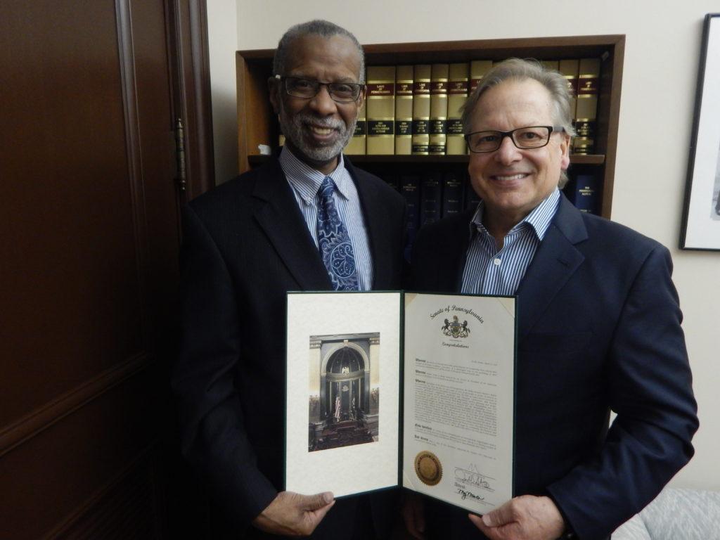Senator Haywood presents 2017 AIA PA President, Bob Kelly with past president citation